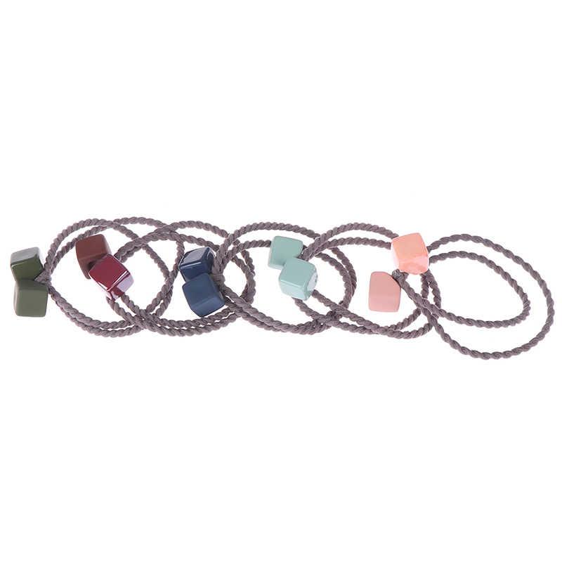 1PCS น่ารักยางสีผมเชือกสแควร์ผมหัวแหวนเชือกผูกผมยางวงอุปกรณ์เสริมผมเด็ก headwear