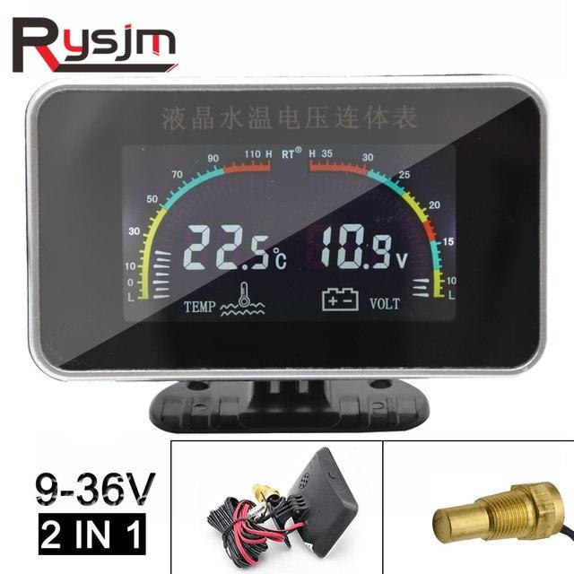 12V/24V Car LCD Water Temperature Meter Thermometer Voltmeter Gauge 2 in 1 Temp & Voltage Meter 10mm Water Temp Sensor motor