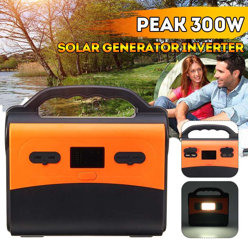 50000mAh Peaks 300W LCD Solar Power Storage Generator Inverter Outdoor Home Car Supply USB Energy Storage With LED Light