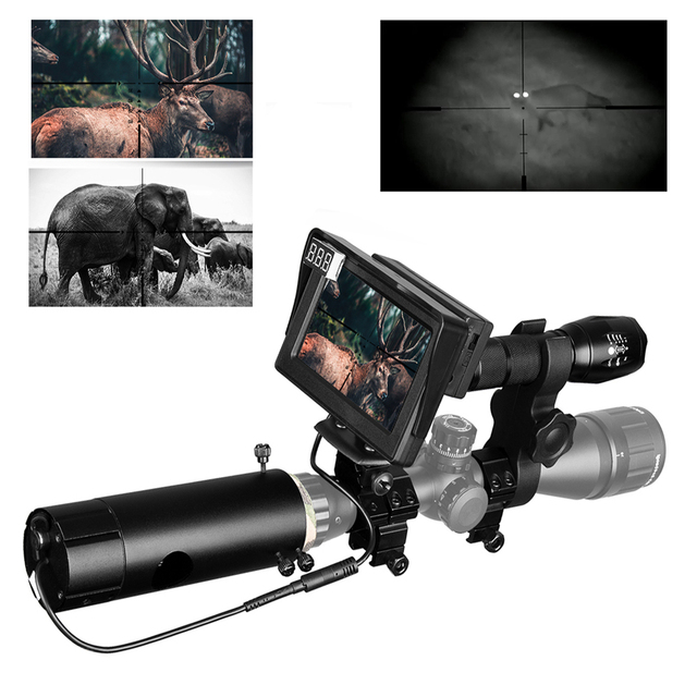 850nm Infrared DIY Night Vision Device Scope Sight Day Night Outdoor Dual Use LCD Screen &Laser Flashlight &Camouflage Tape