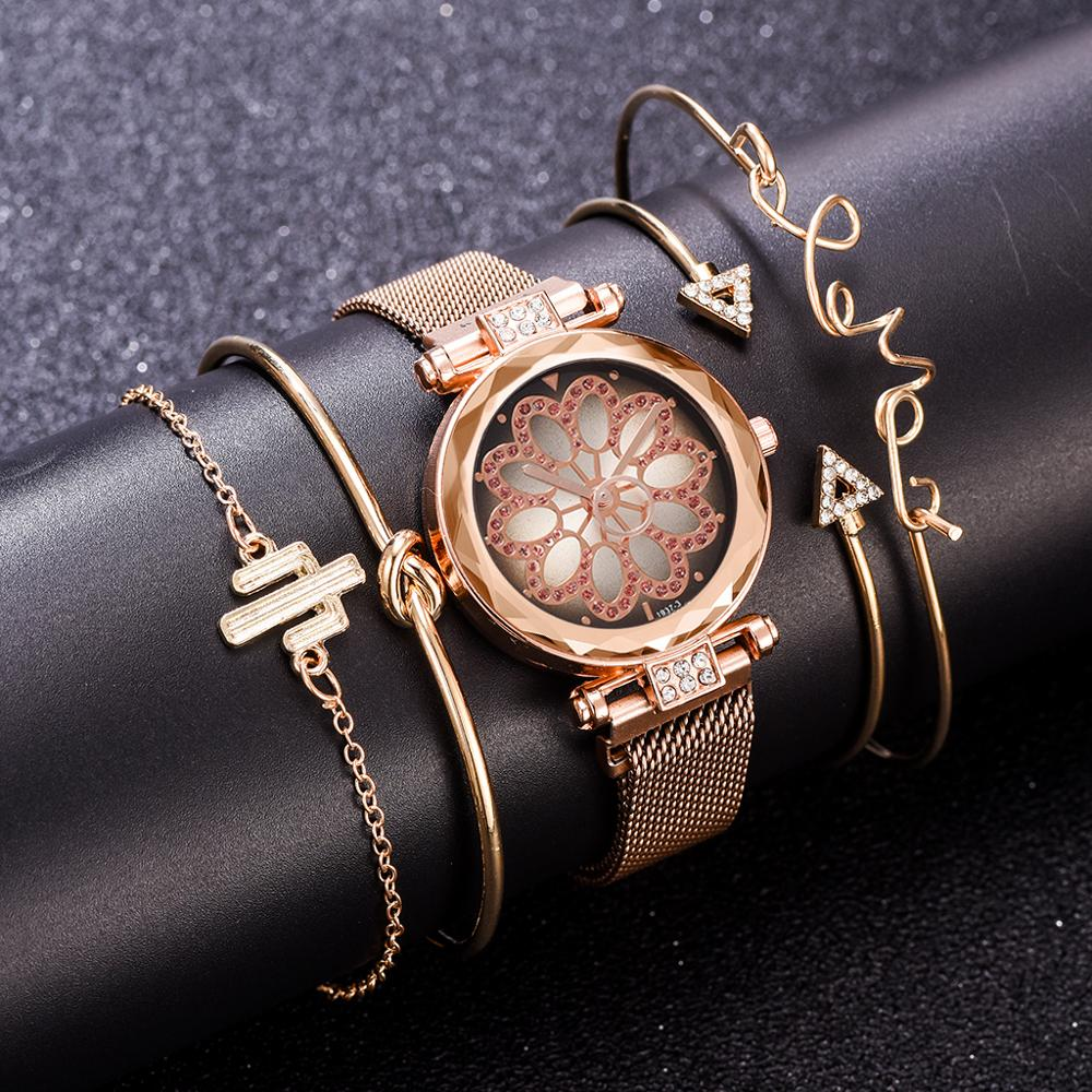 5pcs Set Women Magnet Buckle Lucky Flower Watch Luxury Ladies Rhinestone Quartz Watch Bracelet Set Relogio Feminino Montre Femme