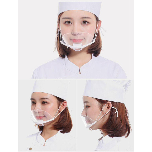 10 Pcs-60 Pcs Transparent Sanitary Open Mask For Full Face Protection Food Truck Makeup  Plastic Work Face Mouth Protective Mask 3