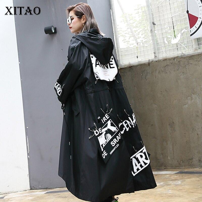 XITAO épissé grande taille Trench noir pour les femmes marée longue impression Streetwear à capuche décontracté femme large taille manteau 2019 ZLL1100