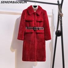 Top Quality Winter Women Fur Coat Covered Button Furry Faux Fur Coats Women's Long Loose Soft Rabbit Fur Overcoat Free Belt