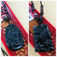 Natural Hetian Black Jade Handmade Carved Black Guan Gong Mage Pendant with Necklace Variety of Men and Women Sweater Chain(China)