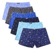 5 adet/grup erkek iç çamaşırı baskılı şort pamuk rahat nefes orta yaşlı erkek gevşek büyük boy Boxer pantolon