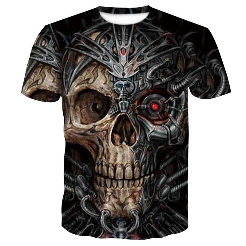 Fashion 3D Print Skull T Shirt Summer Mens Short Sleeve Tops Casual Breathable Clothing Hip Hop Skull T-shirt Dropshipping