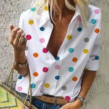 Women Dot Print Blouses Chiffon Colourful Tops Slim Office Lady Shirt