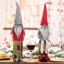 1 PC Faceless Doll Christmas Wine Bottle Cover Decoration Big Pendants Champagne Hanging Leg Set