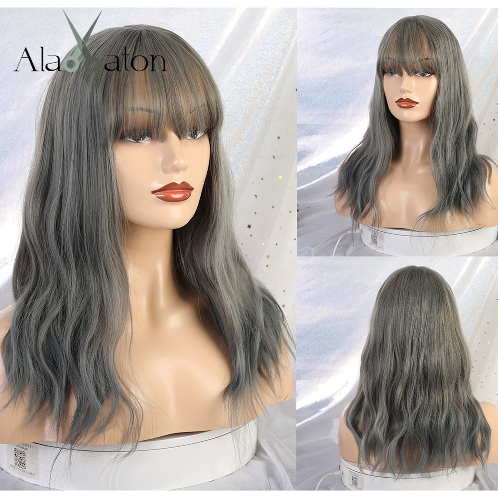 ALAN EATON Synthetic Ombre Gray Blue Wigs With Bangs Medium Hair For Women's Water Wave False Hair Cosplay Wigs Heat Resistant