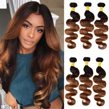 Ombre Body Wave Bundles Brazilian Hair Weave Bundles Ombre Human Hair Bundles Honey Blonde Remy 3 4 Bundles Deal Human Hair cheap SAY ME Remy Hair =10 Darker Color Only Dyed Weaving Machine Double Weft