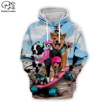 Men 3D Funny skateboard Dog Print Hoodie women cartoon animal Sweatshirt Harajuku zipper coat unisex pullover beach tshirt vest