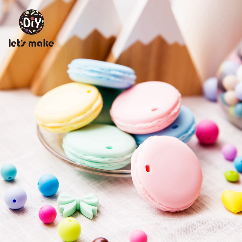 Let's Make Silicone Teether Cookies Shape 1pc Teething Toys BPA Free Food Grade Cartoon DIY Pacifier Accessories Baby Teethers