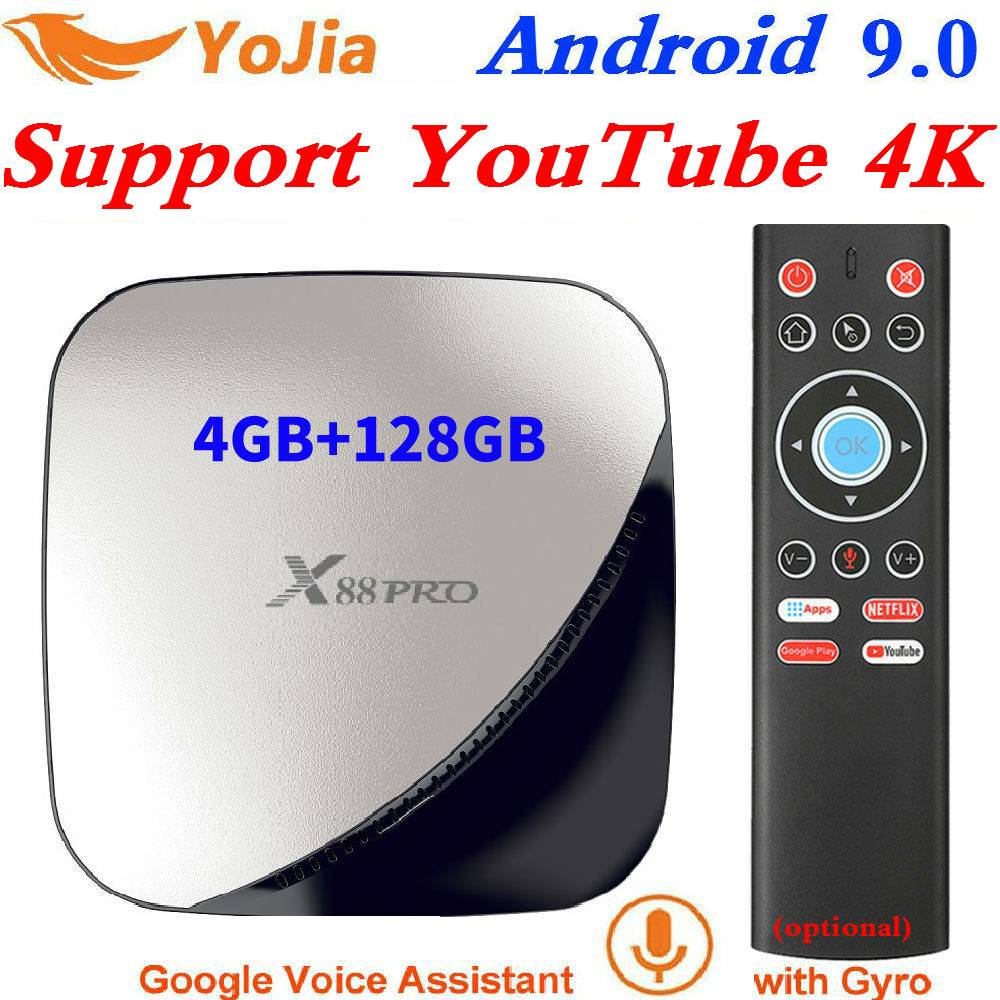 X88 pro 4K Android 9.0 Caixa de TV Inteligente 64 4GB RAM Max 128GB ROM GB RK3318 4 núcleo 2G16G 5G Dual Wi-fi Set Top Box Media Player Do Youtube