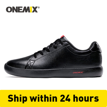 ONEMIX Casual Flat Skateboard Shoes Men Sneakers Leather Skateboarding Shoes Classic Outdoor Lightweight Walking Tenis Shoes