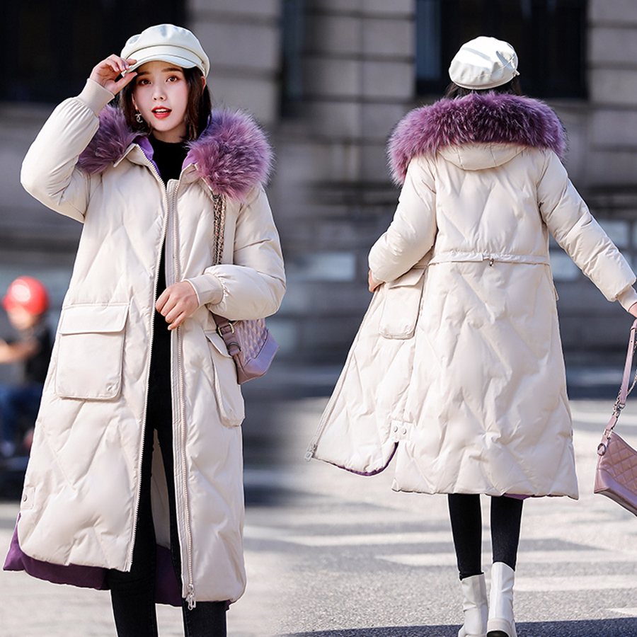 Women winter coat cotton padded Thicken warm long jacket winter plus size parka outwear female fur collar hooded coats 2019