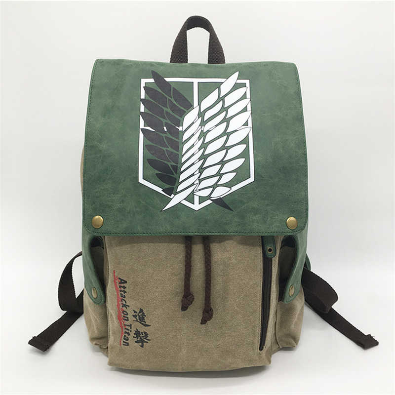 Cartoon Anime Attack on Titan Cosplay Canvas Backpack Satchel Student Back Pack Bookbag School Bag Purse Men Kids Collectible