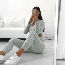 Women Knitted Lounge Wear Sets 2pcs Crop Top Suit Ladies Tra