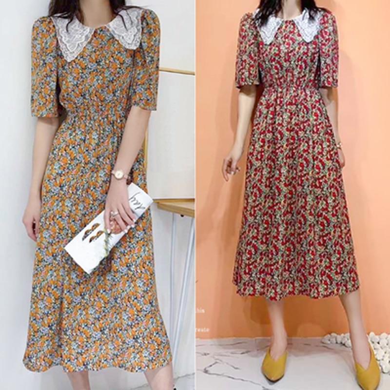 Summer 2020 Plus Size XL- 5XL Women Dress Embroidery Collar Short Sleeve Ladies Vestidos Print Floral Brand Robe Bohemian Dress