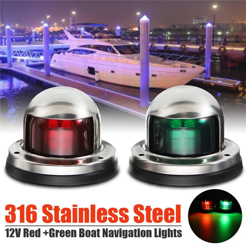 1Pair 12V Stainless Steel Red Green Bow LED Navigation Lights Boat Marine Indicator Spot Light Marine Boat Yacht Sailing Light 5