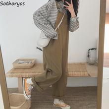 Jumpsuits Women Denim Wide-Leg Chic Casual All-Match Simple Loose Solid Harajuku-Style