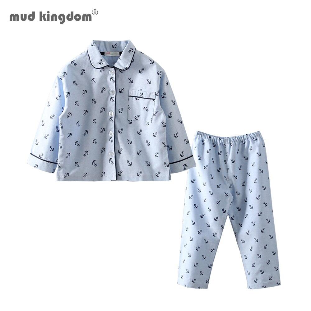Mudkingdom Little Boys Pajamas Set Anchor Print Turn-Down Collar Toddler Pajama Cute Kids Sleepwear Sleeping Clothes 1
