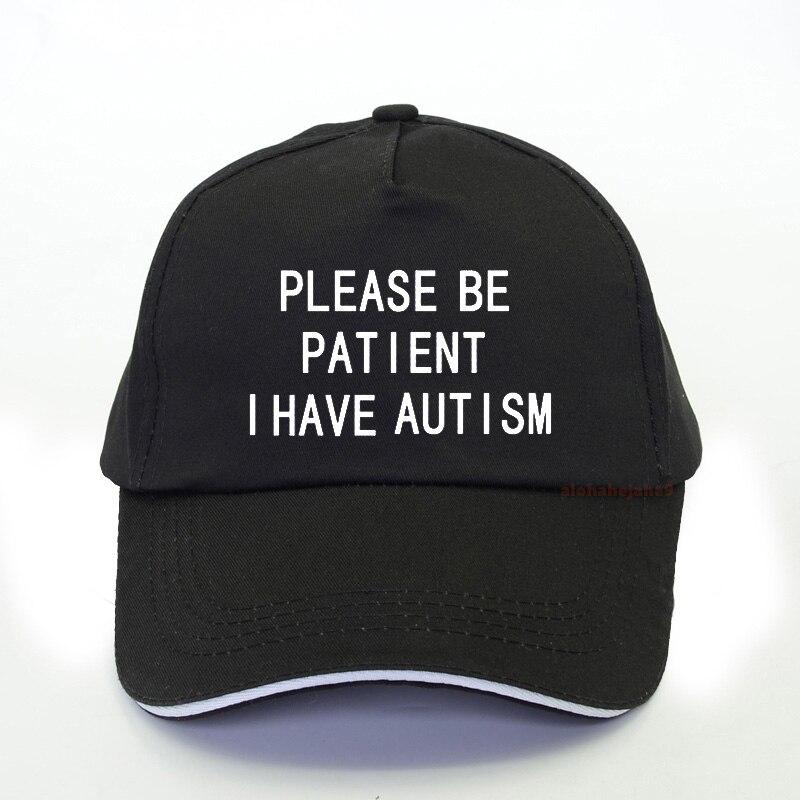 Verão feminino por favor ser paciente eu tenho autismo carta boné de caminhoneiro lazer boné de beisebol ao ar livre unisex ajustável pai chapéu gorras