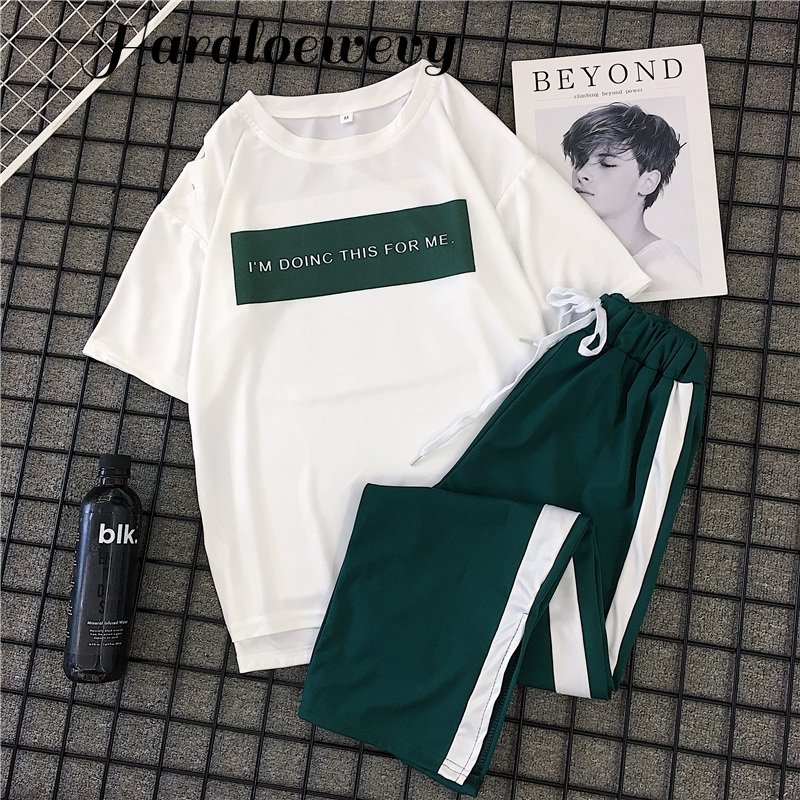 2 Piece Outfits for Women Letter White T Shirt Casual Long Striped Long Pants Elastic High Waist Sport Streetwear Plus Size