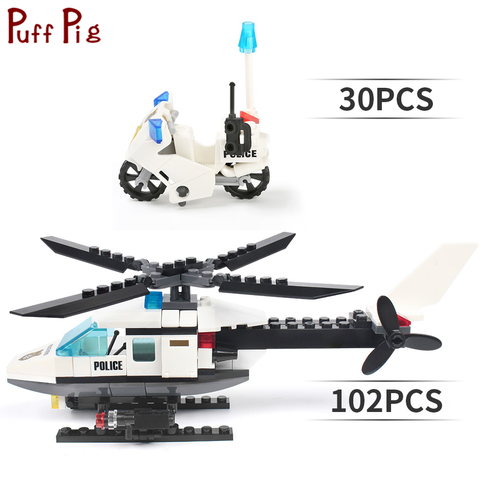 City Police Helicopter Air Force Airplane Motorcycle Building Blocks Military Educational Gift Toys Children image