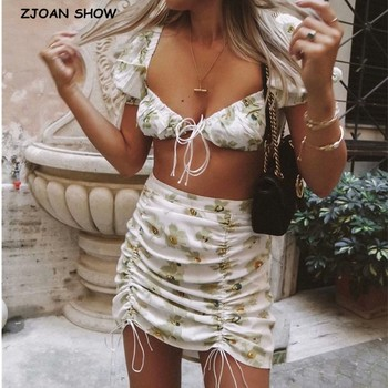 2020 Two Piece Set Floral Print Dress Short sleeve Lace up Crop Top Sexy Women Ruched Mini Short Skirt Set 2 piece outfits women