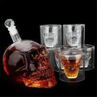 700ml Crystal Skull Whiskey Decanter & 6Pcs 75ML Glass Cup Bar Wine Bottle Set New