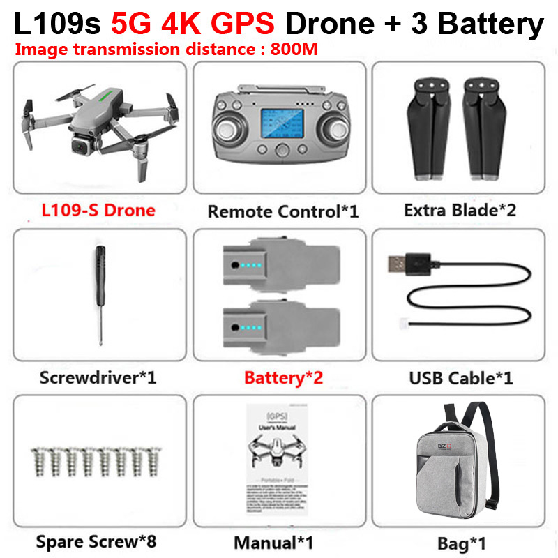L109 Pro GPS Profissional Drone with HD 4K Camera 2-Axis Anti-Shake Self-Stabilizing Gimbal 5G WiFi FPV RC Quadcopter Helicopter