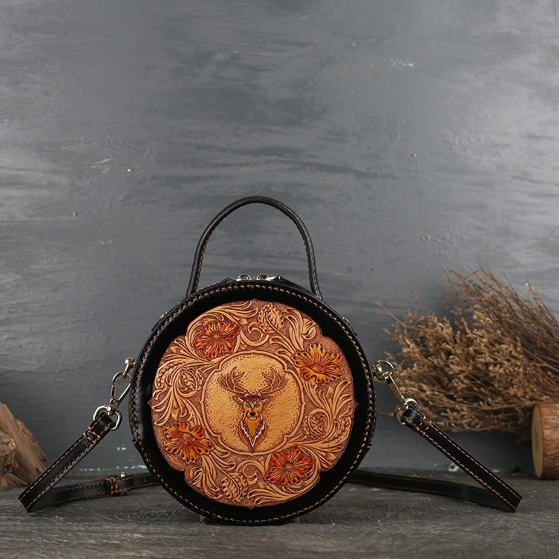 Borsa delle signore di cuoio retrò testa strato di cowhand originale delle signore croce corpo borsa di cuoio intagliato piccola borsa rotonda retro classic - 2