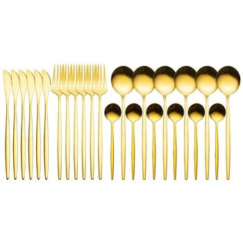 24pcs Gold Dinnerware Set Stainless Steel Tableware Set Knife Fork Spoon Luxury Cutlery Set Gift Box Flatware Dishwasher Safe - Gold