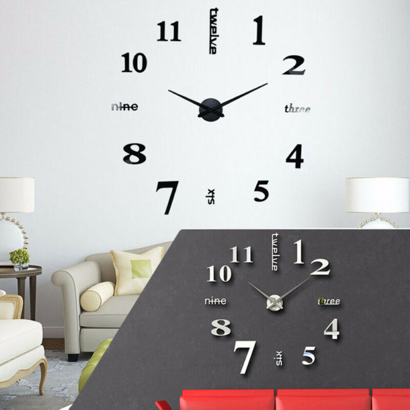 Diy 3d Mirror Surface Large Number Wall Clock Sticker Home