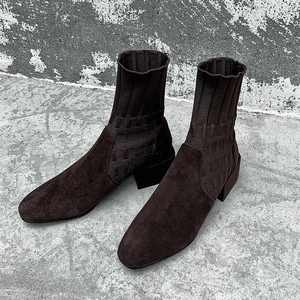 Image 5 - Krazing Pot popular breathable soft flock knitting socks boots round toe med heels slip on winter women solid ankle boots L92