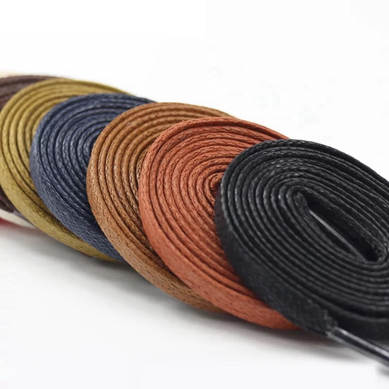 1Pair Waxed Flat Shoelaces Leather Waterproof Casual Shoes Laces Unisex Boots Shoelace Length 60 80 100 120 140 160 180CM P3