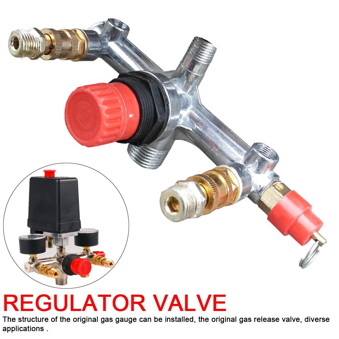 Double Outlet Tube Alloy  Luft kompressor Schalter Druckregler Ventil Fit Teil
