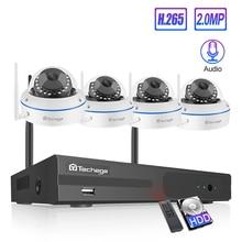 Techage 4CH 1080P Draadloze Nvr Kit Beveiliging Ip Camera Systeem 2MP Wifi Audio Sound Cctv Dome Indoor Camera Cctv surveillance Set