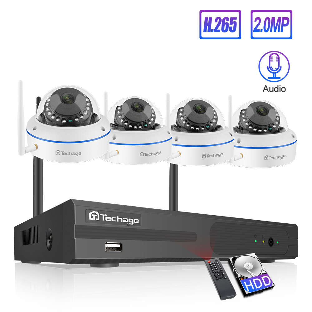 Techage 4CH 1080P Wireless NVR Kit Security IP Camera System 2MP Wifi Audio Sound CCTV Dome Indoor Camera CCTV Surveillance Set