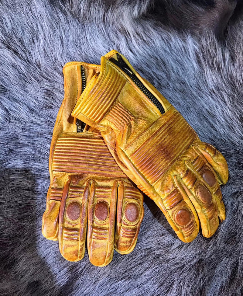 Genuine Leather worn motorcycle gloves retro motorcycle gloves men's road cycling gloves guantes moto warm moto gloves