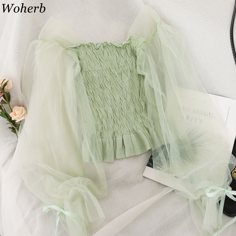 Woherb Elegant Slim Long Sleeve Pleated Thin Pullovers Sweaters Mesh Patchwork Knitted Crop Tops Women Sweet Fashion New 91349
