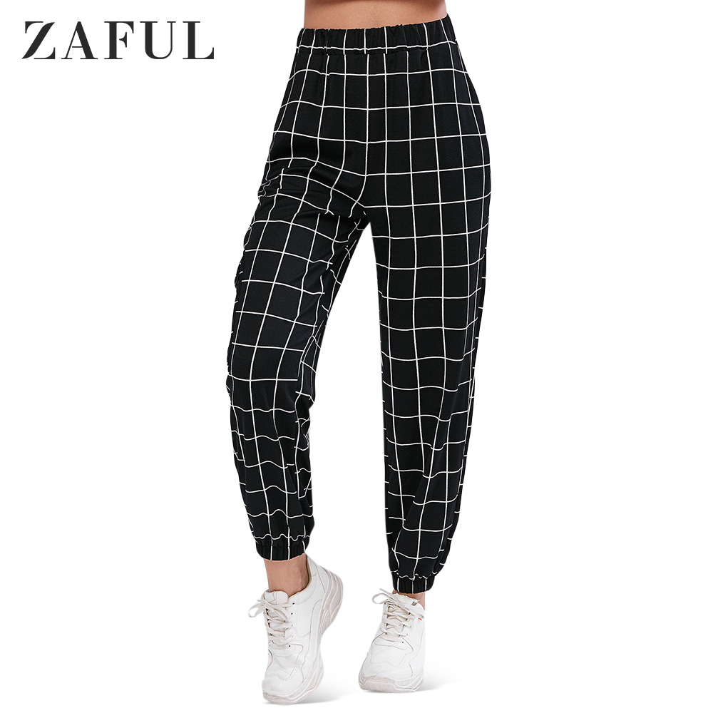 ZAFUL Plaid Jogger Pants With Pocket For Women High Waist Elastic Waist Jogger Pants Female Sports Autumn
