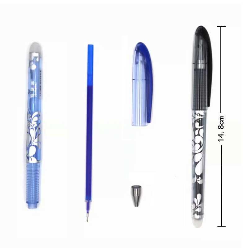Zmazywalny długopis zestaw niebieski czarny kolorowy atrament pisanie długopisy żelowe zmywalny uchwyt pręt do szkoły materiały biurowe egzamin zapasowy
