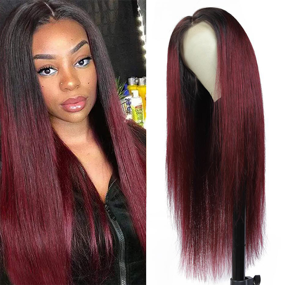 Ombre 4x4 Closure Wig Bone Straight  Wigs  T1b/99j   Cosplay Wig Lace Frontal Wigs 1