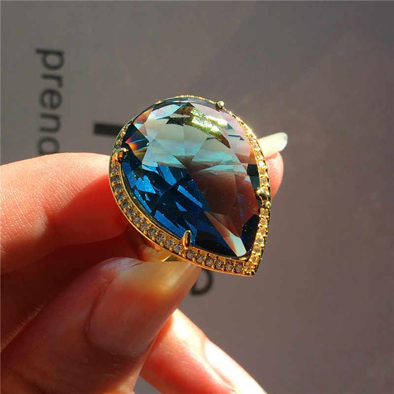 Tuyệt đẹp Nam Nữ Lớn Giọt Nước Nhẫn Nam Nữ Vàng Cưới Vàng Ban Nhạc Nhẫn Cao Cấp Màu Xanh Tím Zircon Đính