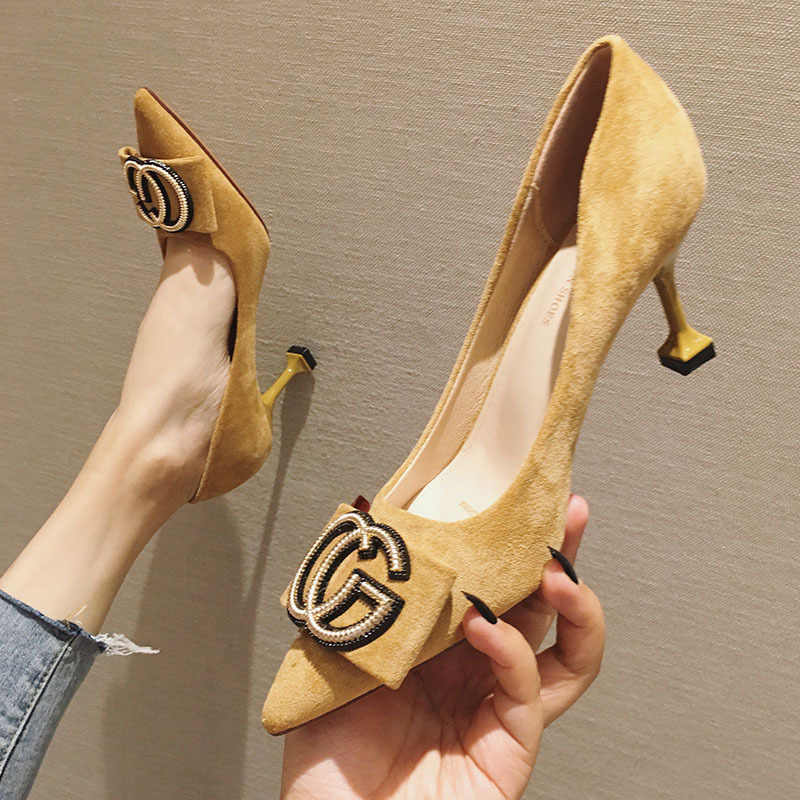 2019 Spring New Style Online Celebrity Pointed-Toe High Heel Shoes Thin Heeled Versatile Low-Cut WOMEN'S Shoes Suede Semi-high H