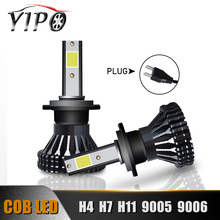 цена на LED h4 h7 h11 H1 H3 880 9005 9006 hb3 hb4 H13 9004 9007 h7 led COB headlamp beam bulb car light headlight kit 6000k 12V 2pcs