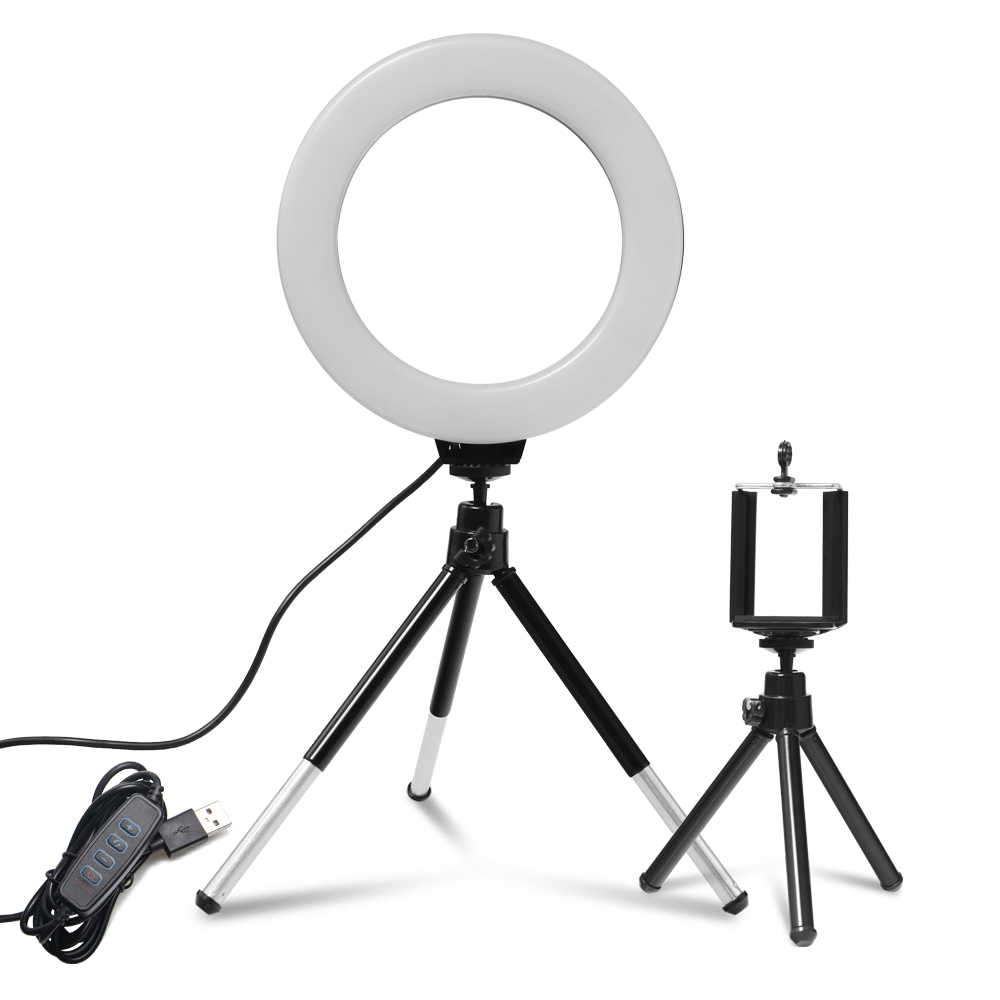 6 Inci Mini LED Desktop Vertikal Dimmable Ring Light dengan Tripod Berdiri USB untuk YouTube Video Live Foto Fotografi studio