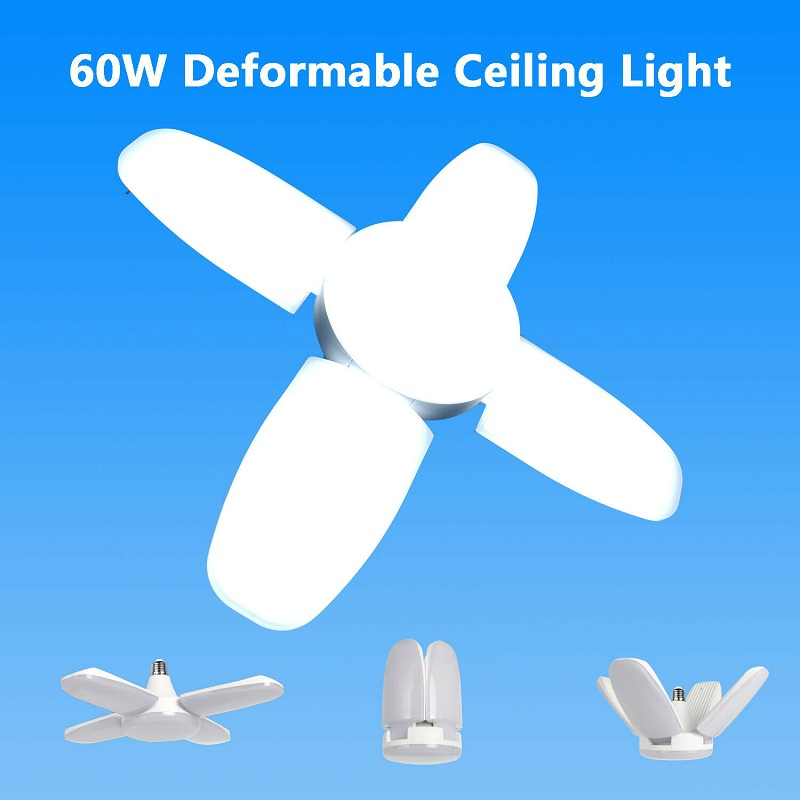Super Bright 60W 5400LM LED Garage Ceiling Light Indoor Deformable Garage Light Mining Lamps For Warehouse,Workshop,Basement
